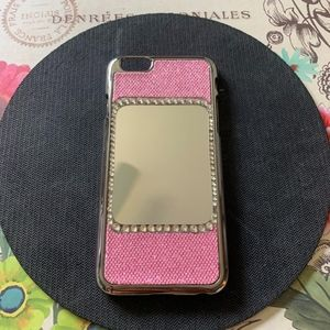 Pink iPhone 6 Case with Mirror and Rhinestones